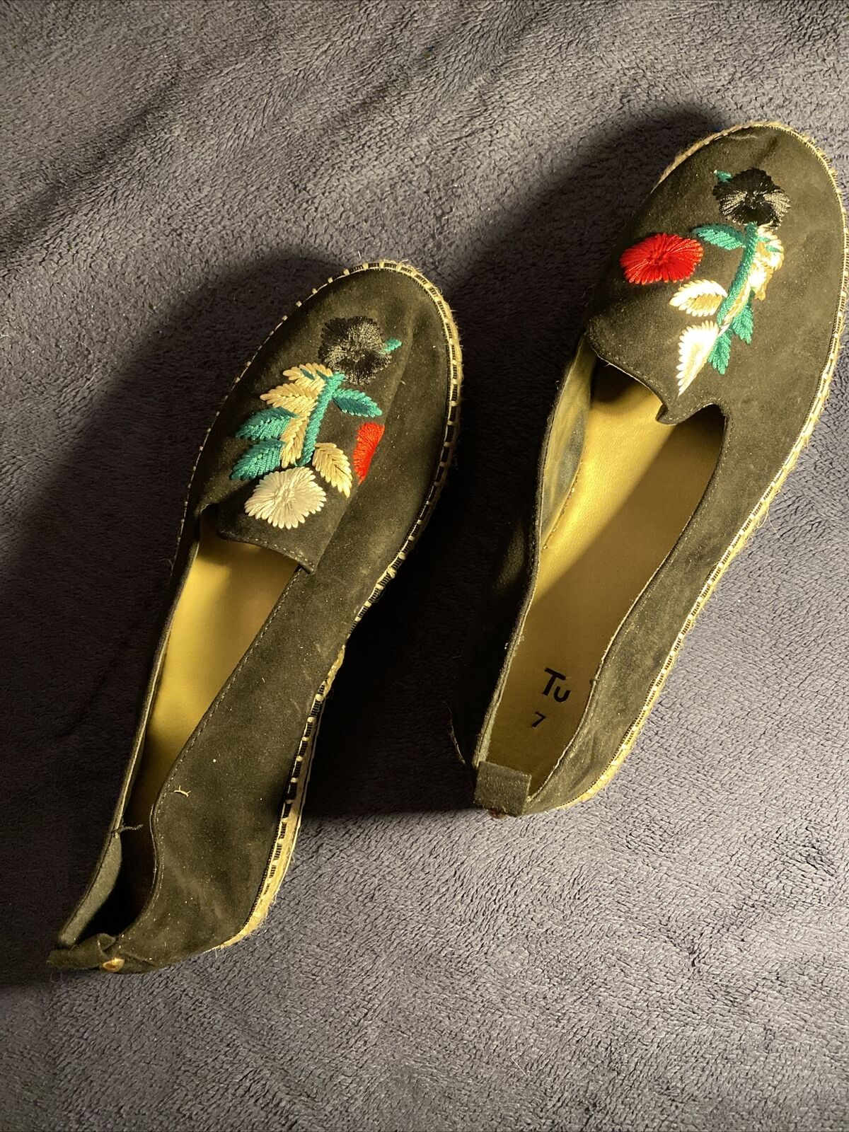 Tu Noir Fleur patterened Plat Chaussures-Taille 7-Très bon état
