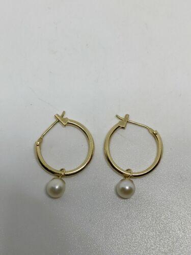 Vintage 14k Gold Hoop Pearl Earrings Small