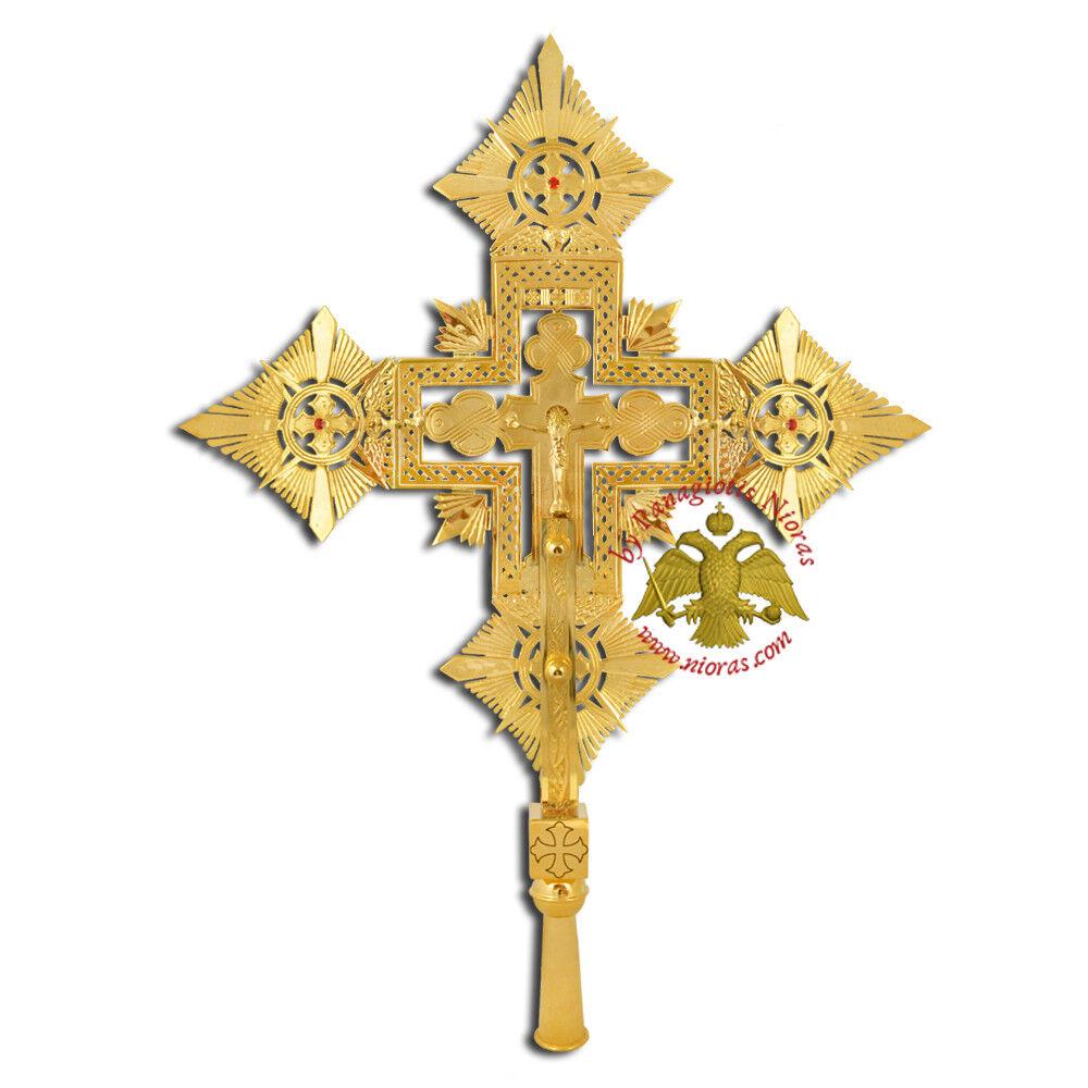 Coptic Ethiopian Orthodox Processional Cross Gold Plated Prozessionskreuz