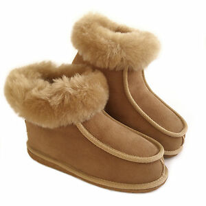 11aabb8d780 Details about New Ladies Women's Premium 100% Pure Twinface Sheepskin Boots  Slippers EVA Sole