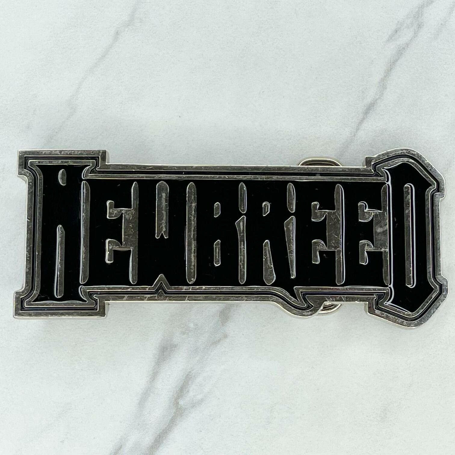 Silver Tone Black New Breed Spell Out Belt Buckle