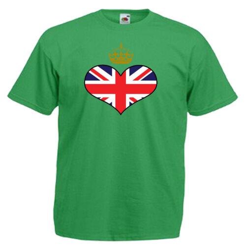 Royal Crown Union Jack Heart Flag Children/'s Kids Childs T Shirt