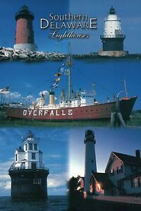 Southern-Delaware-Lighthouses-Fenwick-Island-Lighthouse-Lightship-etc-Postcard
