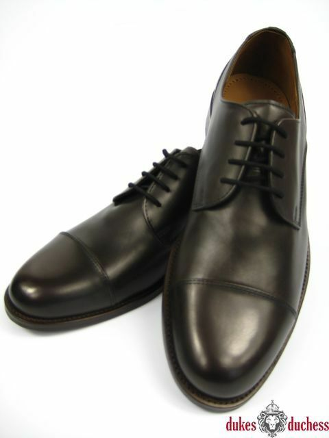 Manz Herren Business Leder Schuh Oxford Kappe Cap Toe 142090 dunkel braun/mokka