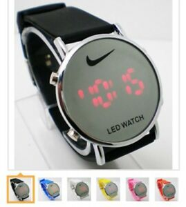 Image is loading Nike-LED-Watch-Round-Mirror-Face-SILICONE-BAND-