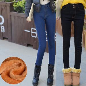 Women-039-s-Casual-Fleece-Jeans-Stretch-Skinny-Flannel-Denim-Trousers-Pencil-Pants