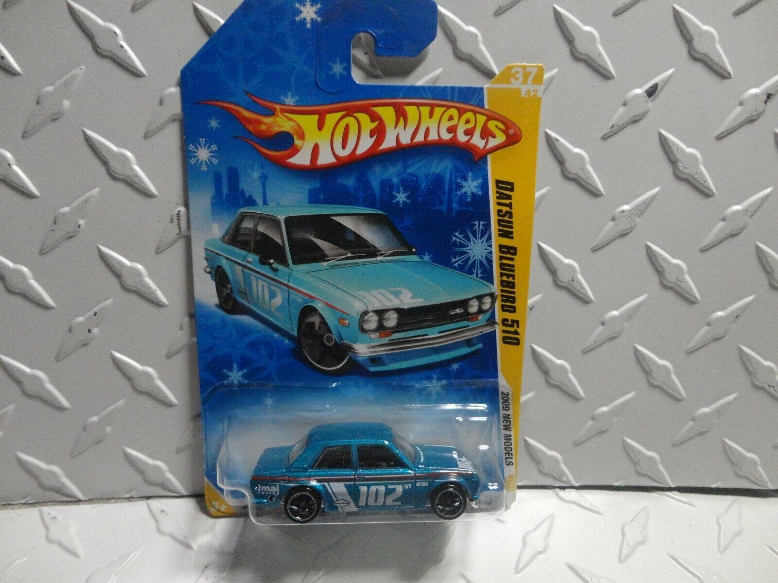 2009 Hot Wheels bluee Datsun blueebird 510 on Snowflake Card in Predecto