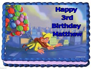 Edible Cake Images Curious George : Curious George EDIBLE CAKE TOPPER BIRTHDAY DECORATIONS eBay