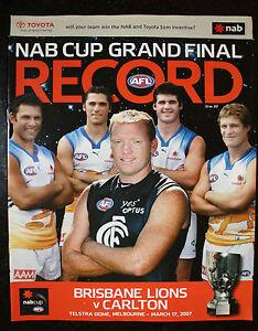 Image Is Loading 2007 NAB Cup Grand Final Brisbane Vs Carlton