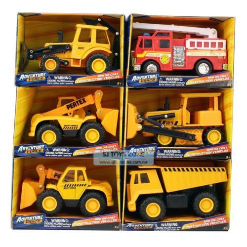 Adventure Force Mini Die-cast Construction Vehicles Set With Bonus Fire Truck