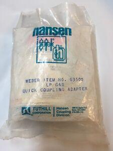 HANSEN LP Gas Quick Coupling Adapter, Weber Item No 63500 (NEW)