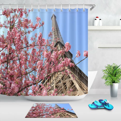 72x72/'/' Bathroom Waterproof Shower Curtain Paris France Eiffel Tower At Spring