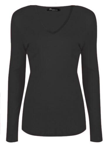 New Women Ladies Plain Long Sleeve V Neck Top Shirt Casual T-Shirt Size 8-26