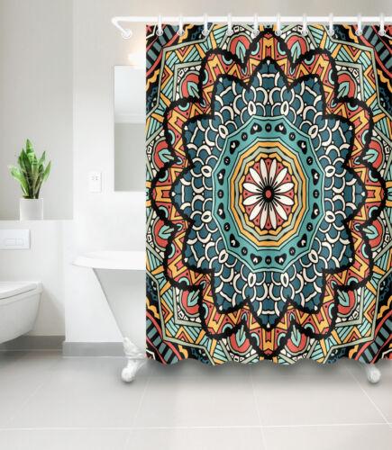 Roue Forme Mandala polyester imperméable rideau de douche Tapis de salle de bain Crochets