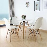 Round White Dining Table And 4 Chairs Retro Dsw Eiffel Style Modern Furniture