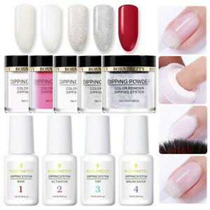 9Pcs-BORN-PRETTY-Nail-Dip-Dipping-Powder-Liquid-Clear-Pink-Polish-Starter-Kit