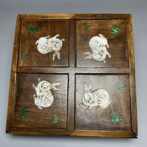 Noble old Boxwood Inlay Conch rabbit Usable Precious Girl Jewelry Secret Box