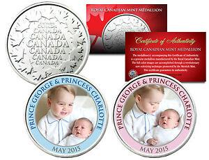 PRINCE-GEORGE-amp-PRINCESS-CHARLOTTE-2015-Royal-Canadian-Mint-Medallion-2-Coin-Set