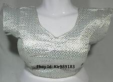 Ready made Designer Silver Brocade Saree Blouse Size-38