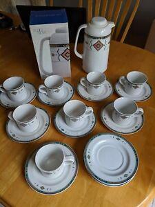Studio-Nova-ADIRONDACK-Southwestern-Aztec-Pattern-Coffee-Cups-Saucers-amp-Carafe