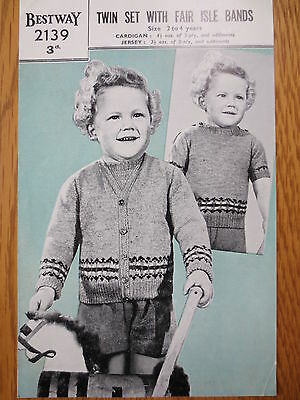 VINTAGE BESTWAY Knitting Pattern Child's Twin Set with Fair Isle Bands Age 2 - 4