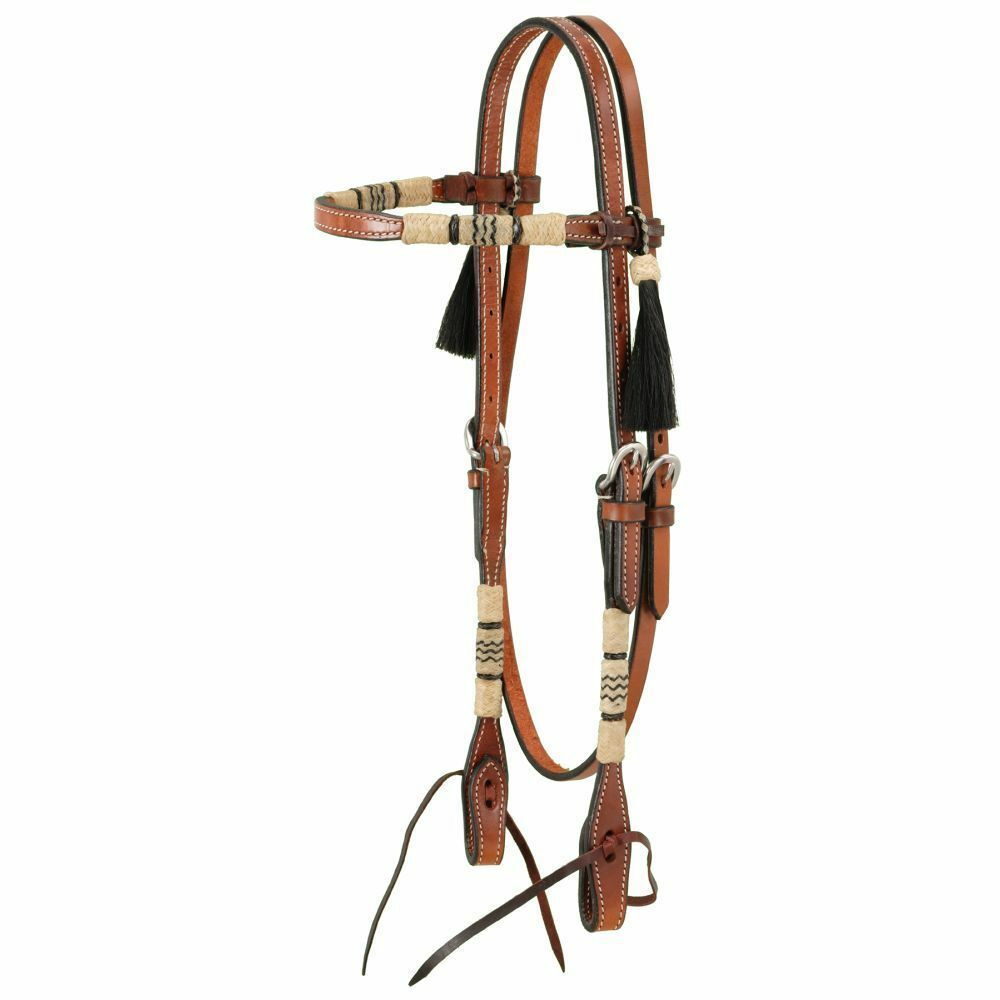 Western Natural Leather Browband Style Rawhide Braided Headatall with Tassel