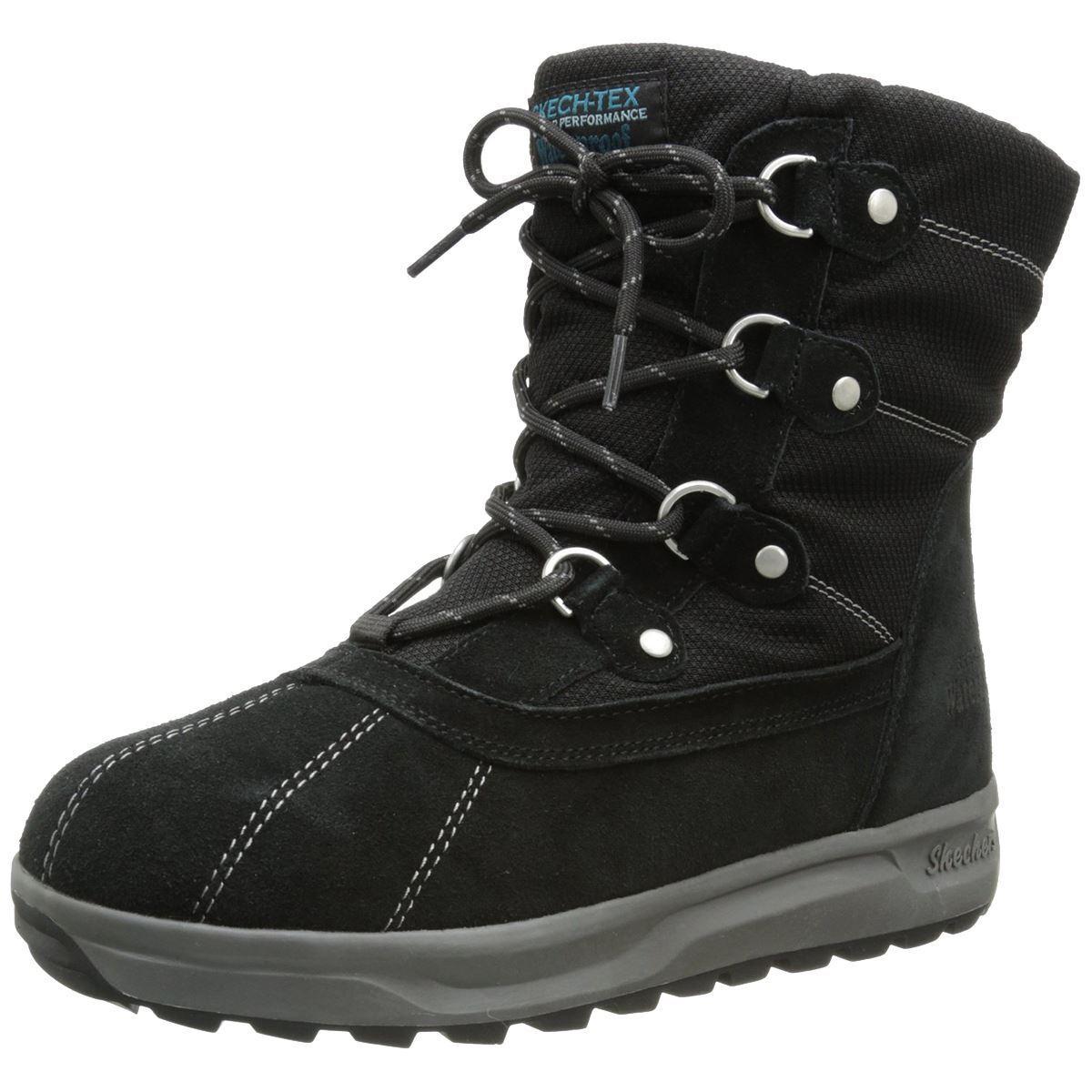 Skechers STORM CLOUD CUMULUS Womens Black Leather Waterproof Snow Winter Boots