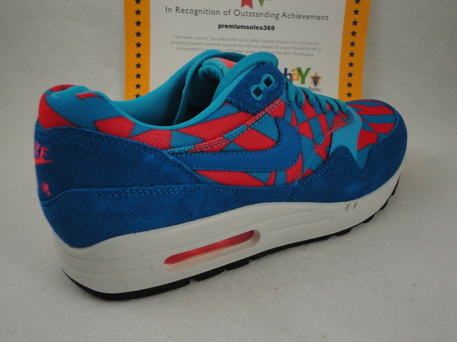 Nike Air Max 1 GPX, bluee Lagoon   Bright Crimson, Suede, DS Size 9.5