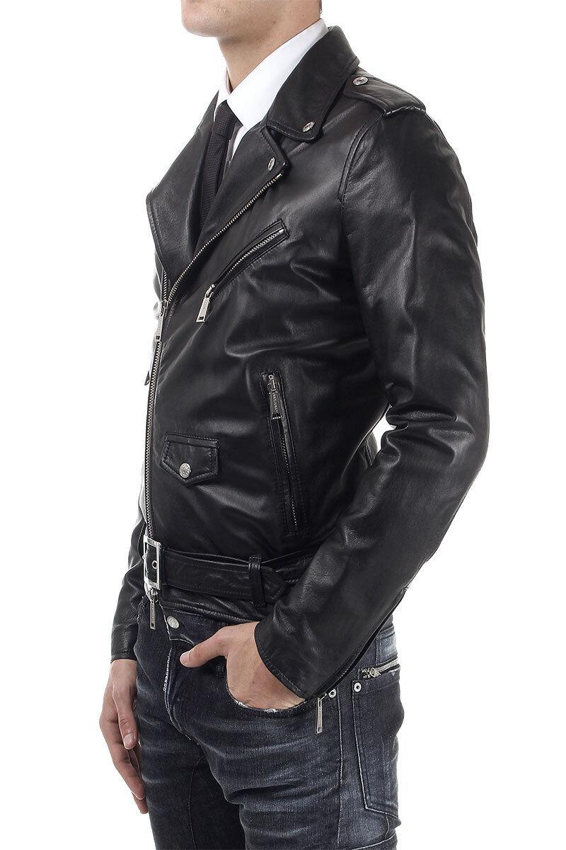 DE Herren Lederjacke Biker Manteau Veste en Cuir pour Homme Homme Veste En cuir R6b