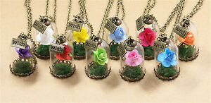 Transparent-Glass-With-False-Rose-Flower-DIY-Necklace-Jewelry-Charms-Pendants-1x