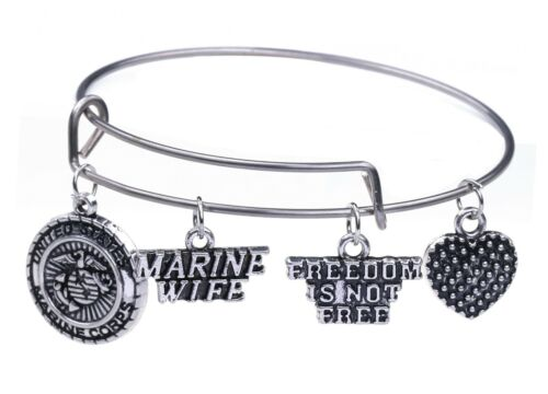 US Marine Husband and Wife /'Freedom Is Not Free/' Charms Bangle Bracelet for Her
