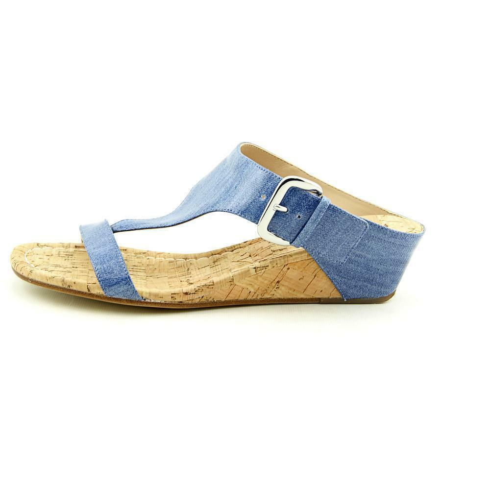 NEW Donald Pliner Doli3 Wedge Leather Patent Thong Sandal bluee Women's Sz 8  198