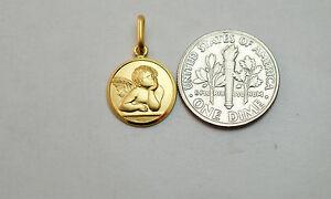 14K-solid-gold-Guardian-Angel-medal-pendant