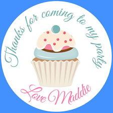 24 Personalizado, Cupcake Pastel de cumpleaños de brillo, Gracias Pegatinas, Etiquetas De Sellos