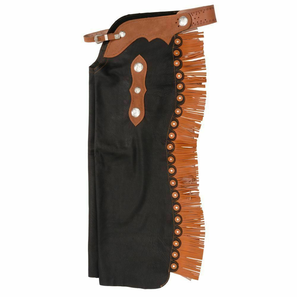 Tough 1 Smooth Leather Reining Cowboy Chaps with Basket Tooled Yoke