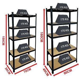 5-Tier-Shelf-Black-Heavy-Duty-Warehouse-DIY-Garage-Storage-Rack-Shelving-Unit