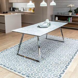Details About New Carrara Marble White Dining Table With Chrome Polished Steel Legs Sets