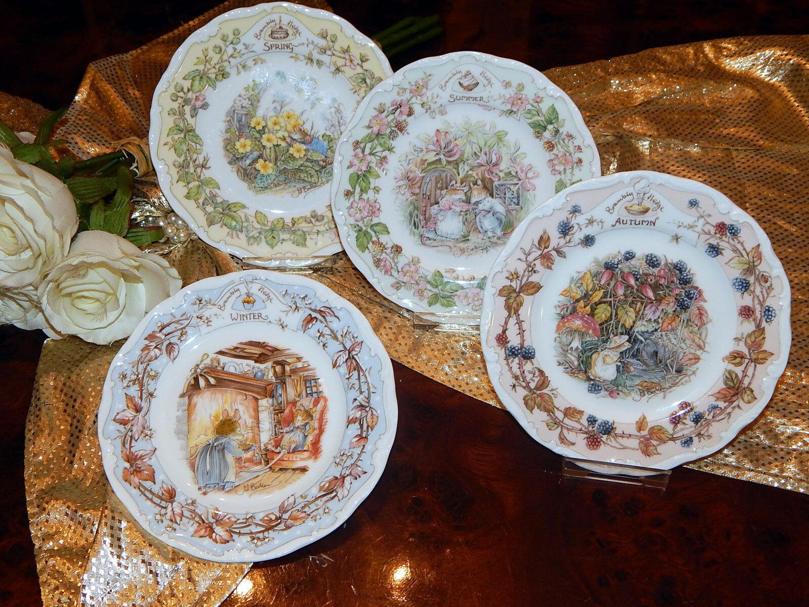 4 Teller Tea Plate 16 cm Brambly Hedge Hedge Hedge Jill Barklem 4 Jahreszeiten neu c389b1