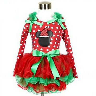 Baby Kids Girls Christmas Long Sleeve Mickey Mouse Lace Tutu Dress Skirt Outfit