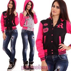 Felpa-donna-giacca-cappuccio-manica-lunga-college-fluo-sport-nuova-V4E1683A-72