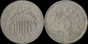 1876-Shield-Nickel-US-Five-Cents-Type-Coin-Longacre-Philadelphia-Mint-Old-US
