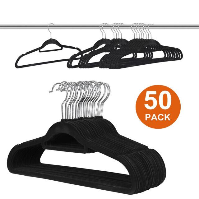 50 Pack Velvet Hangers Clothes Premium Heavy Duty Non Slip Black Flocked Hangers