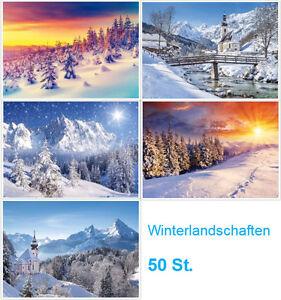 034-WINTER-LANDSCHAFTEN-034-Weihnachtskarten-Postkarten-Set-50-St