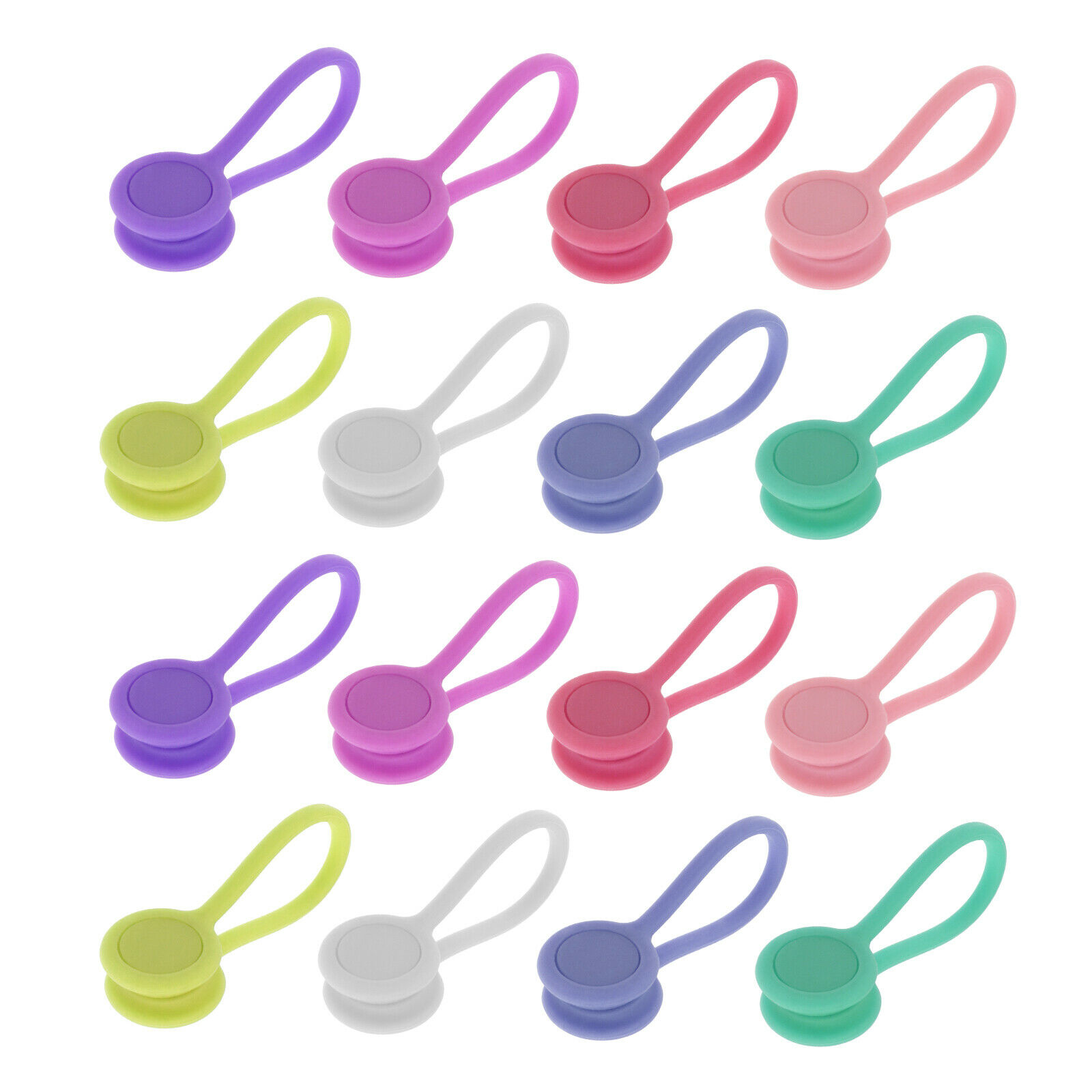 16pcs Magnetic Silicone Cable Clips Winders for Organizing Headphones USB Wire