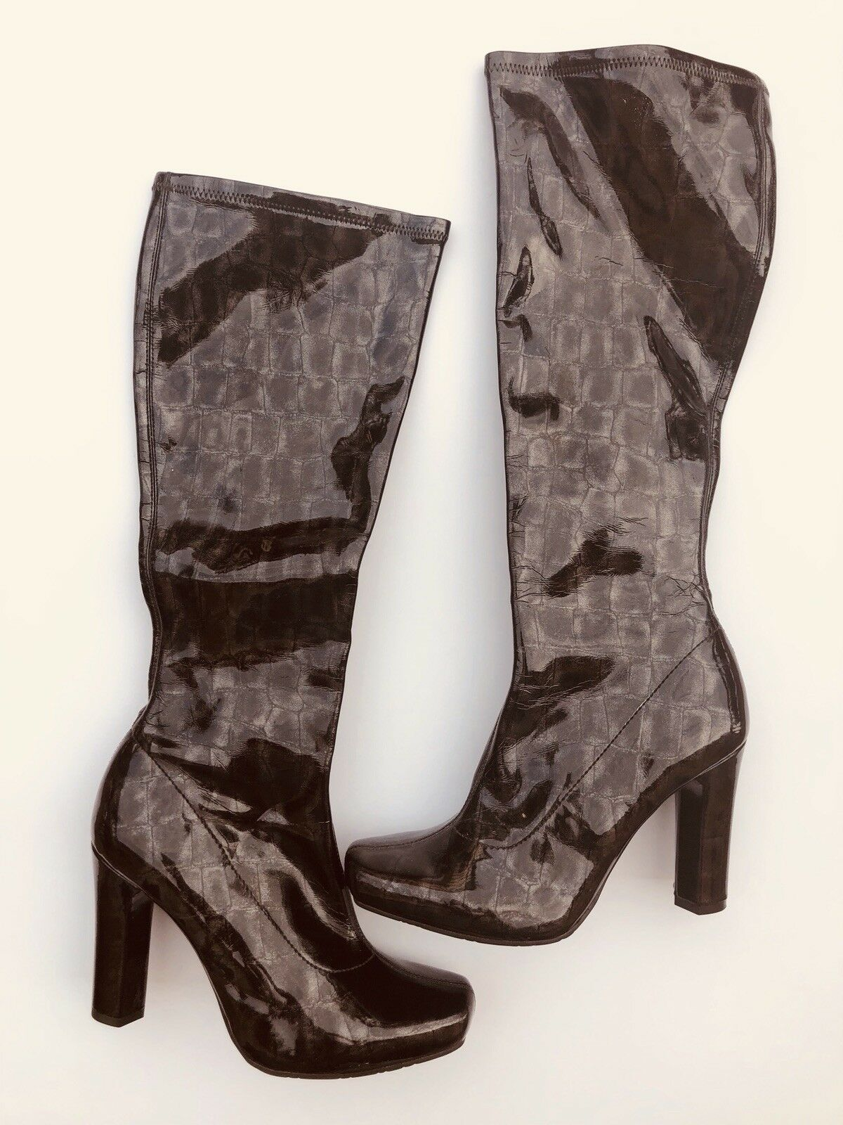 BCBGirls Women's Shiny shoes Brown high heels boots shoes Shiny 8 M New c986c5