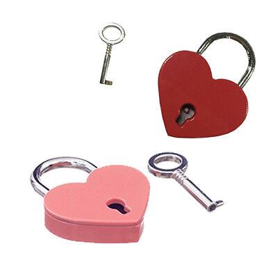 2PCS Small Mini Heart-shape Jewelry Box Lock Key Padlock Luggage Diary Book