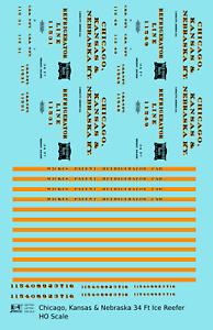 K4-HO-Decals-Chicago-Kansas-amp-Nebraska-34-Ft-Ice-Reefer-Black-Orange-Rock-Island