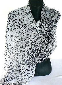 Echarpe LEOPARD empreinte animal noir   blanc scarf femme fille   eBay 52c6d3f6e5a