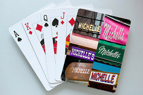 Personalized Playing Cards featuring MICHELLE in photos of actual signs