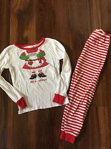 girls 2 pc gymboree christmas pajamas mrs claus cotton pjs winter pants size 5